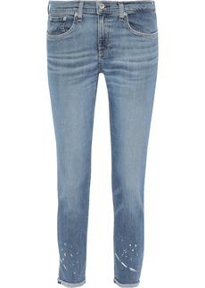 Rag & Bone Woman Ankle Dre Cropped Distressed Mid-rise Slim-leg Jeans Mid Denim
