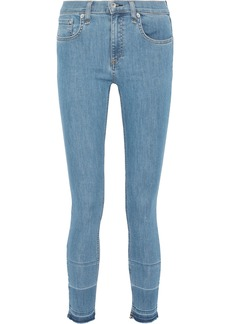 Rag & Bone Woman Ankle Skinny Frayed Low-rise Skinny Jeans Mid Denim