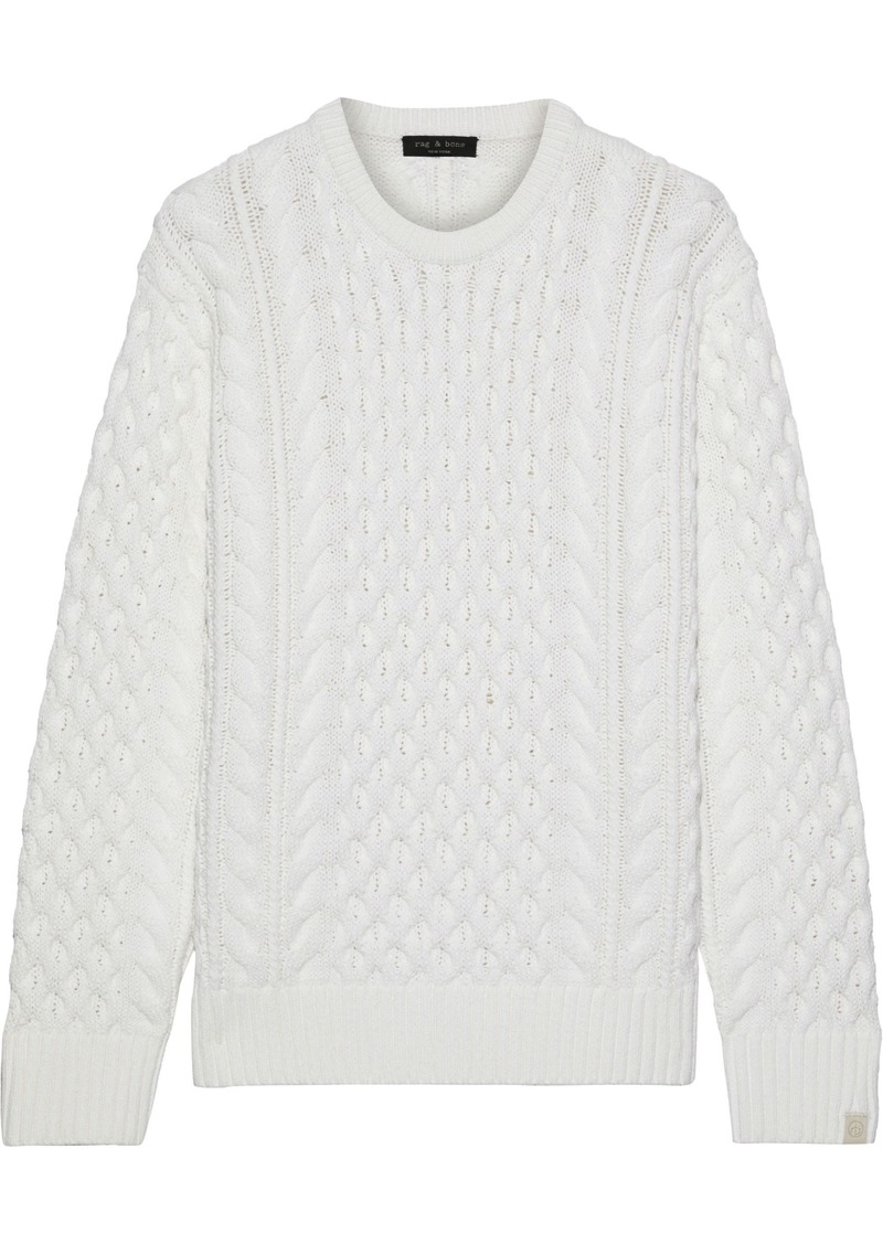 Rag & Bone Woman Aran Cable-knit Merino Wool-blend Sweater Ivory