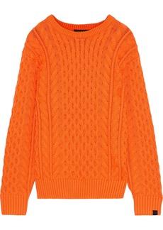 Rag & Bone Woman Aran Cable-knit Merino Wool-blend Sweater Orange