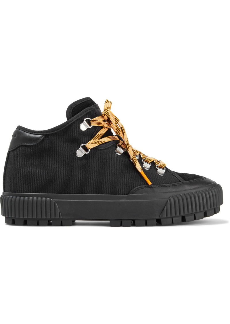 Rag & Bone Woman Army Hiker Leather And Suede-trimmed Canvas Sneakers Black