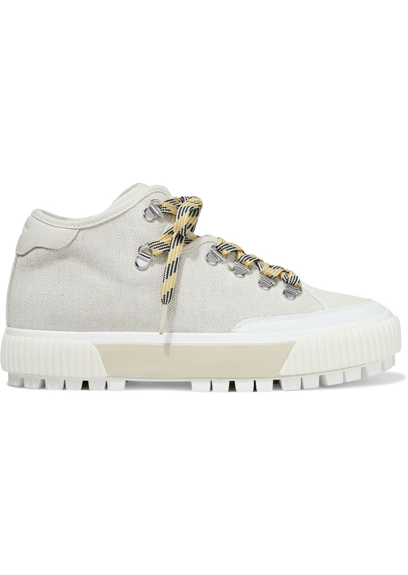Rag & Bone Woman Army Hiker Leather And Suede-trimmed Canvas Sneakers Ecru