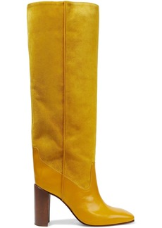 Rag & Bone Woman Aslen Leather And Suede Knee Boots Saffron