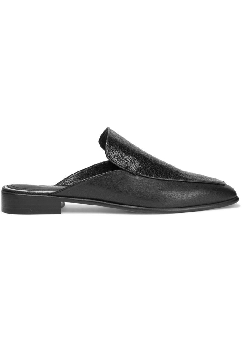 Rag & Bone Woman Aslen Stingray-effect And Textured-leather Slippers Black