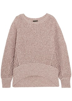 Rag & Bone Woman Athena Open Knit-trimmed Marled Cashmere-blend Sweater Blush