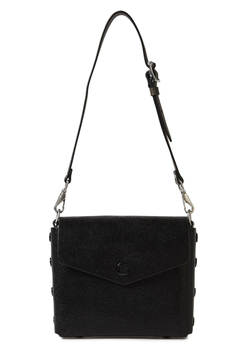 Rag & Bone Woman Atlas Snap-detailed Glossed Stringray-effect Leather Shoulder Bag Black
