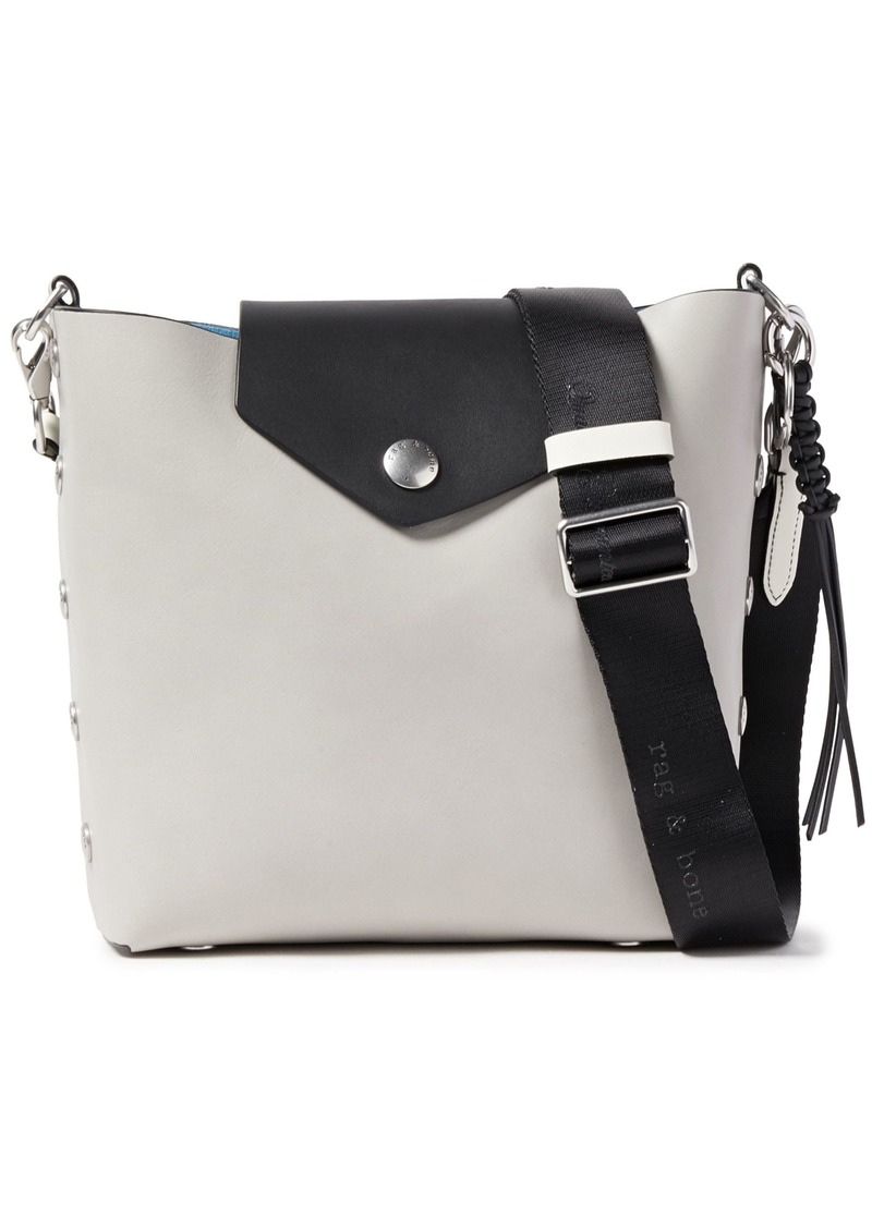 Rag & Bone Woman Atlas Snap-detailed Two-tone Leather Bucket Bag Light Gray