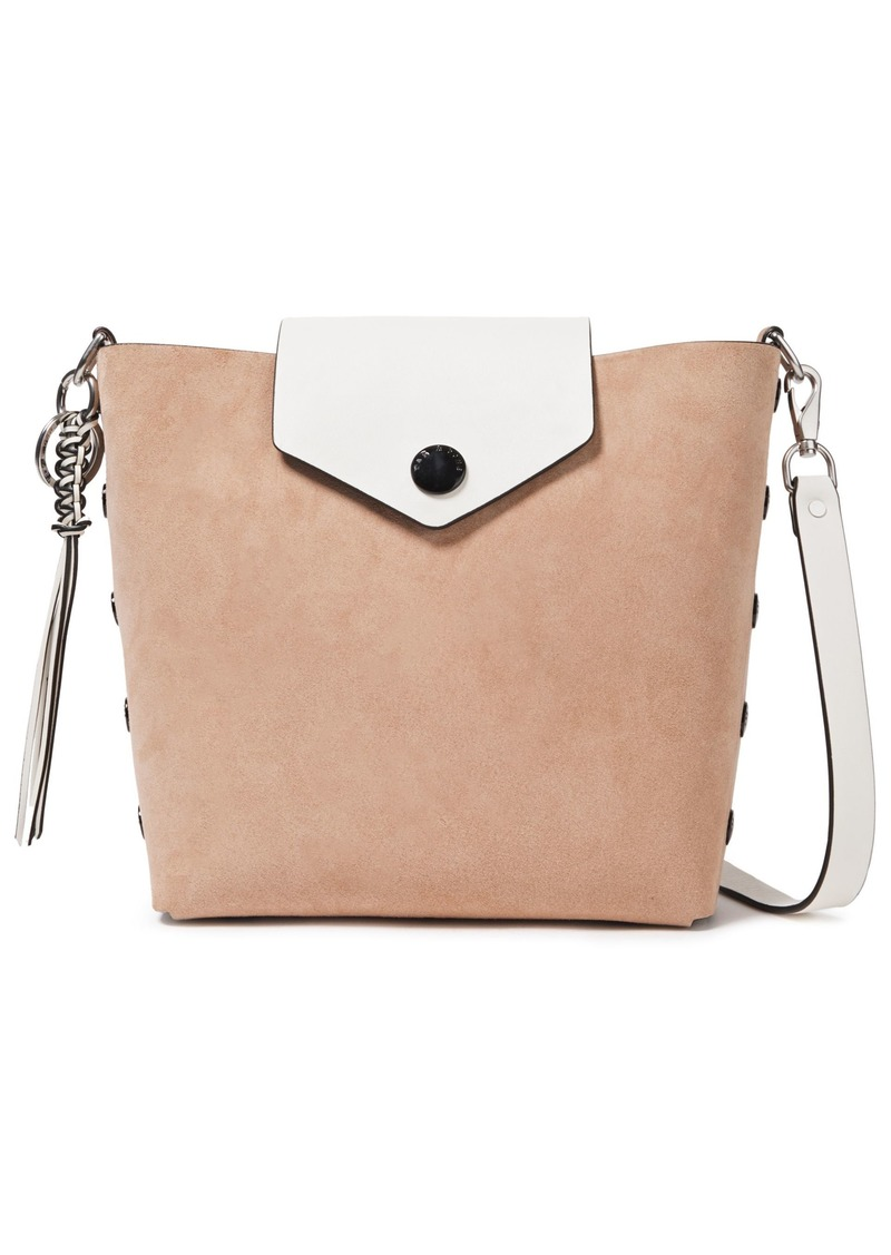 Rag & Bone Woman Atlas Snap-detailed Two-tone Suede And Leather Bucket Bag Neutral