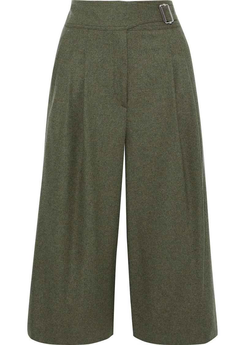 Rag & Bone Woman Aubrey Pleated Mélange Wool-blend Culottes Leaf Green