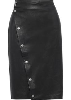 Rag & Bone Woman Baha Snap-detailed Leather Pencil Skirt Black