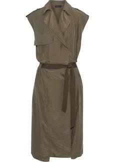 Rag & Bone Woman Bailee Wrap-effect Twill-paneled Washed-silk Dress Army Green
