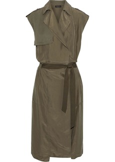 Rag & Bone Woman Bailee Wrap-effect Twill-paneled Washed-silk Dress Army Green