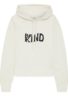 Rag & Bone Woman Be Kind Embroidered French Cotton-terry Hoodie Off-white