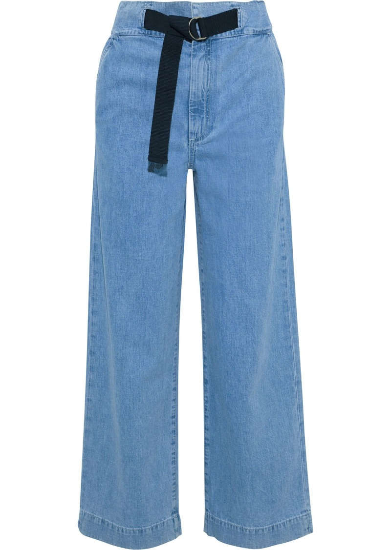 Rag & Bone Woman Belted High-rise Straight-leg Jeans Light Denim