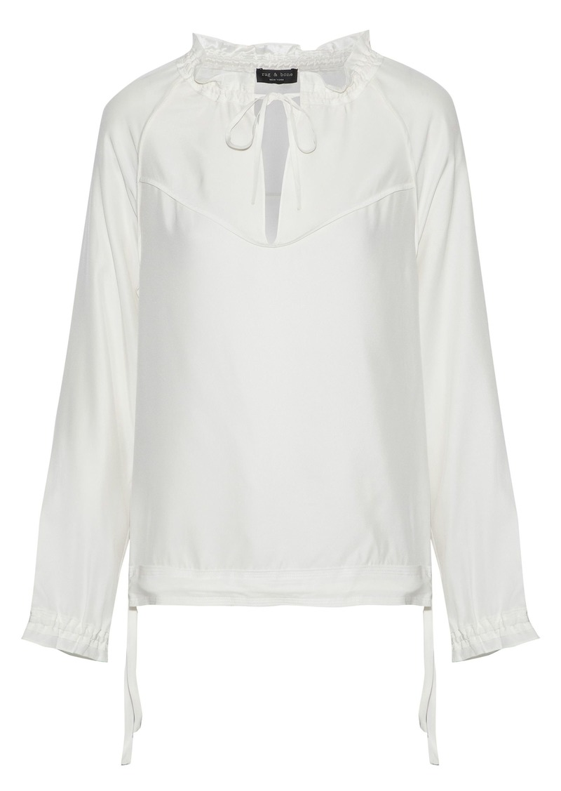 Rag & Bone Woman Bennett Gathered Silk-satin Blouse White