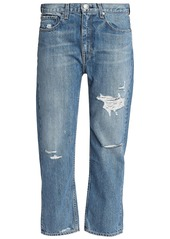 Rag & Bone Woman Boy Cropped Distressed Boyfriend Jeans Mid Denim