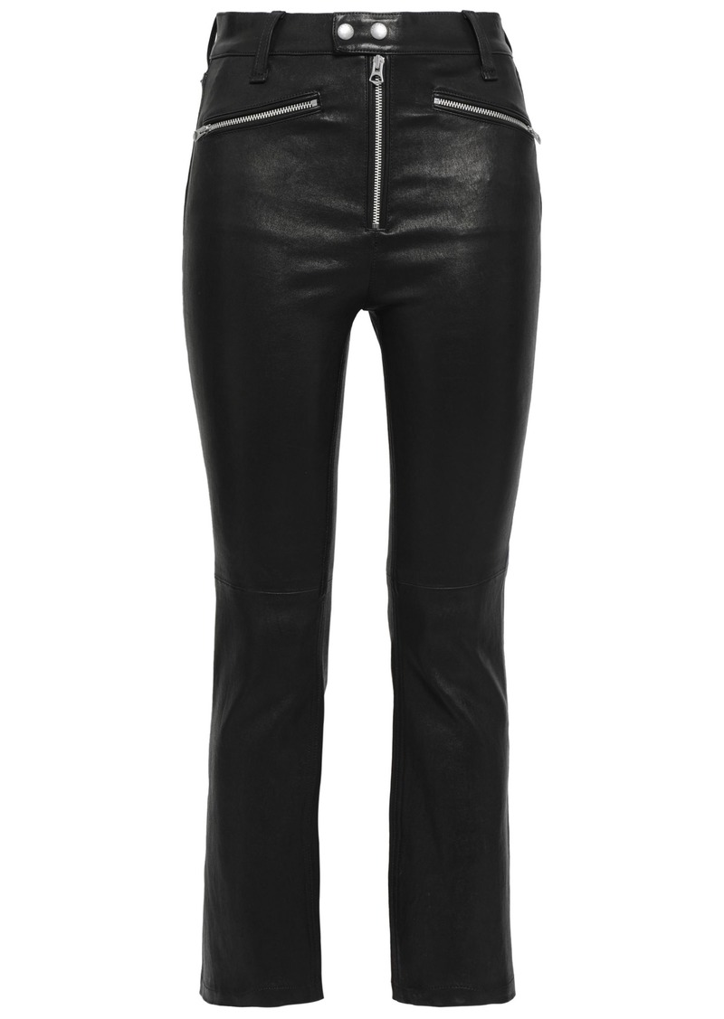 Rag & Bone Woman Braxton Cropped Zip-detailed Leather Slim-leg Pants Black
