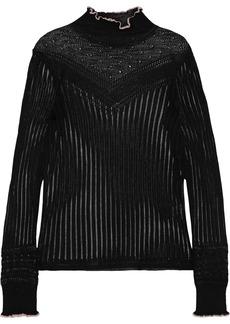Rag & Bone Woman Breanne Ruffle-trimmed Pointelle-knit Sweater Black