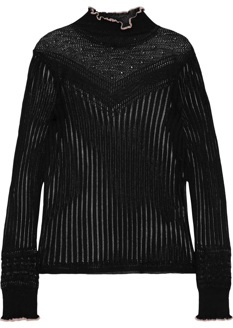 Rag & Bone Woman Breanne Ruffle-trimmed Pointelle-knit Sweater Black