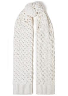 Rag & Bone Woman Cable-knit Merino Wool-blend Scarf White