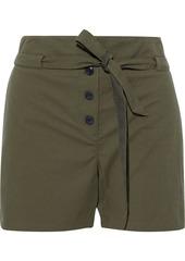 Rag & Bone Woman Camille Belted Cotton-blend Seersucker Shorts Army Green
