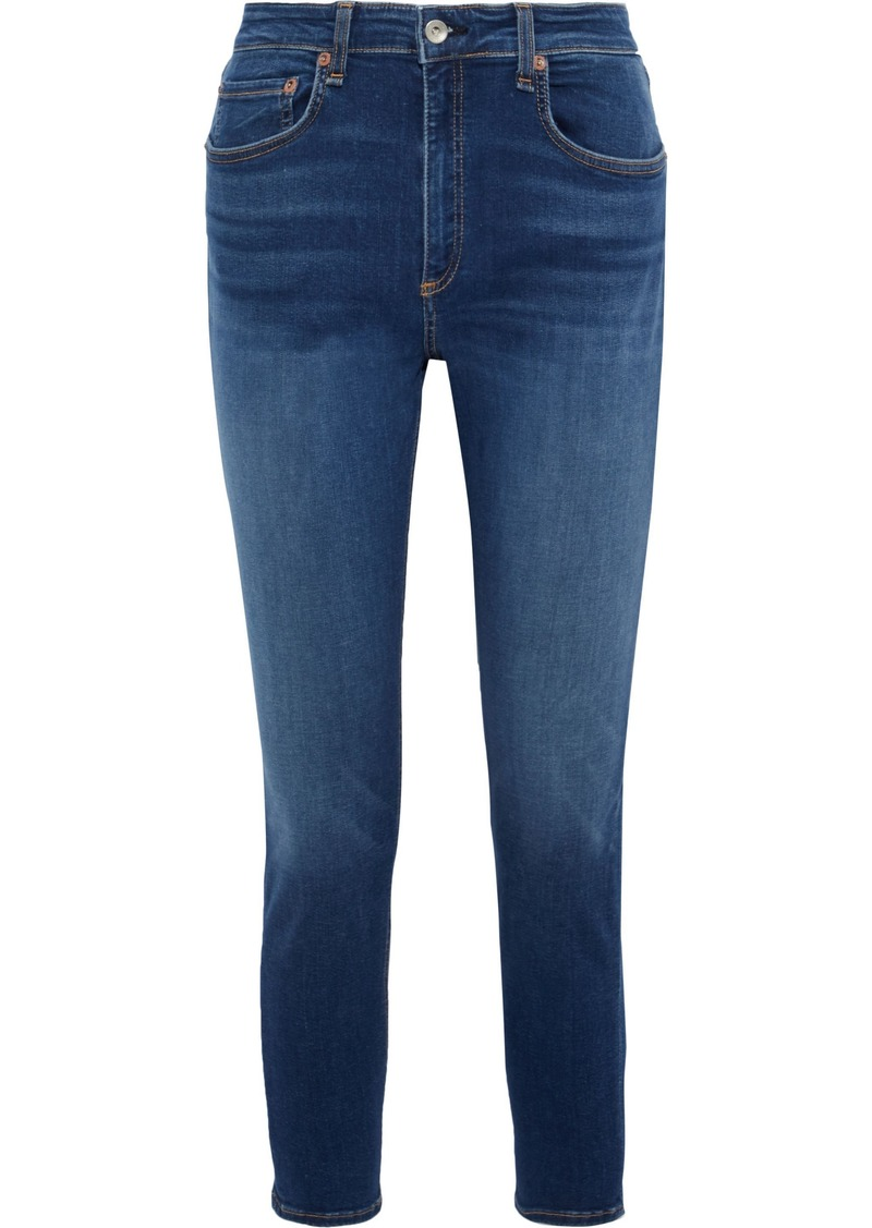 Rag & Bone Woman Cate Cropped Faded High-rise Skinny Jeans Mid Denim
