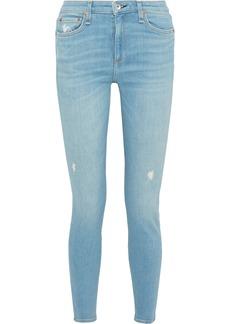Rag & Bone Woman Cate Distressed Mid-rise Skinny Jeans Light Denim