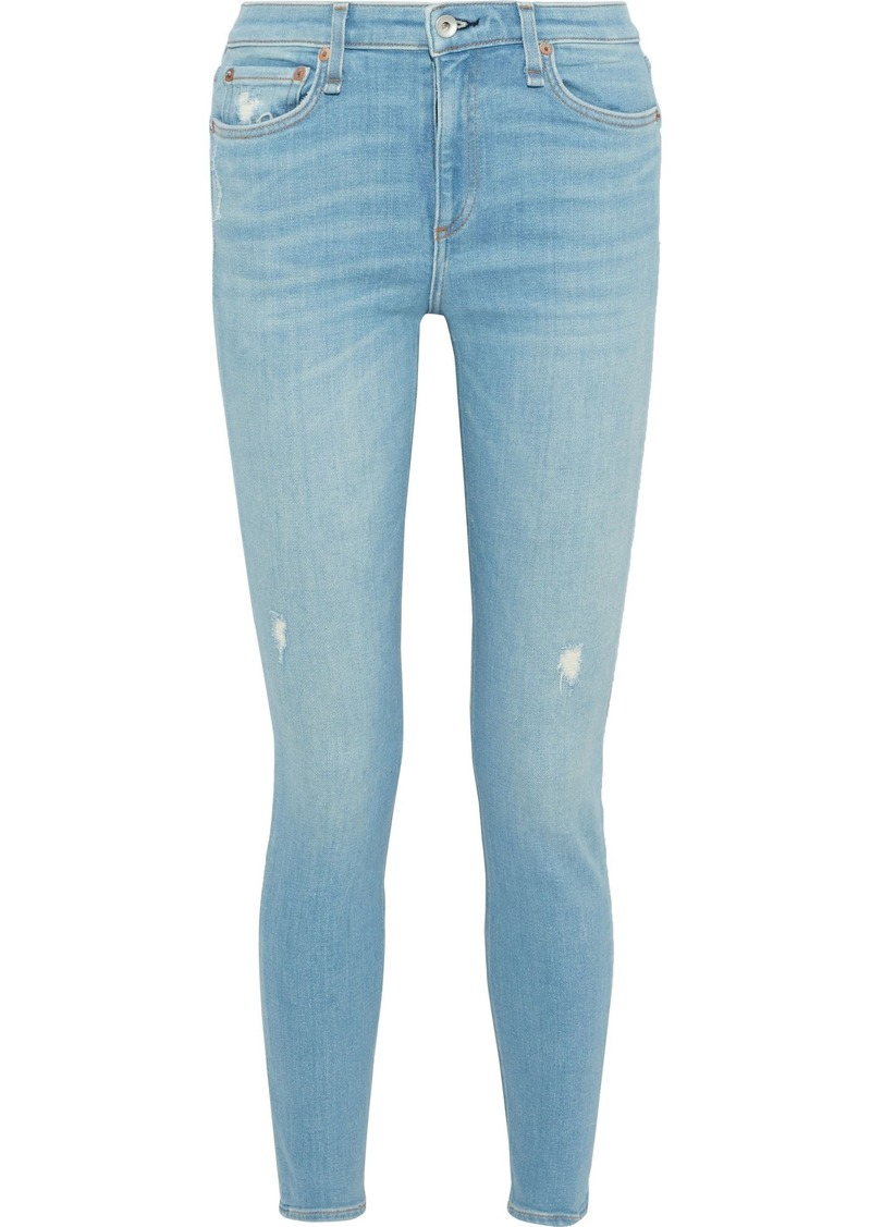 Rag & Bone Woman Cate Distressed Mid-rise Skinny Jeans Light Denim