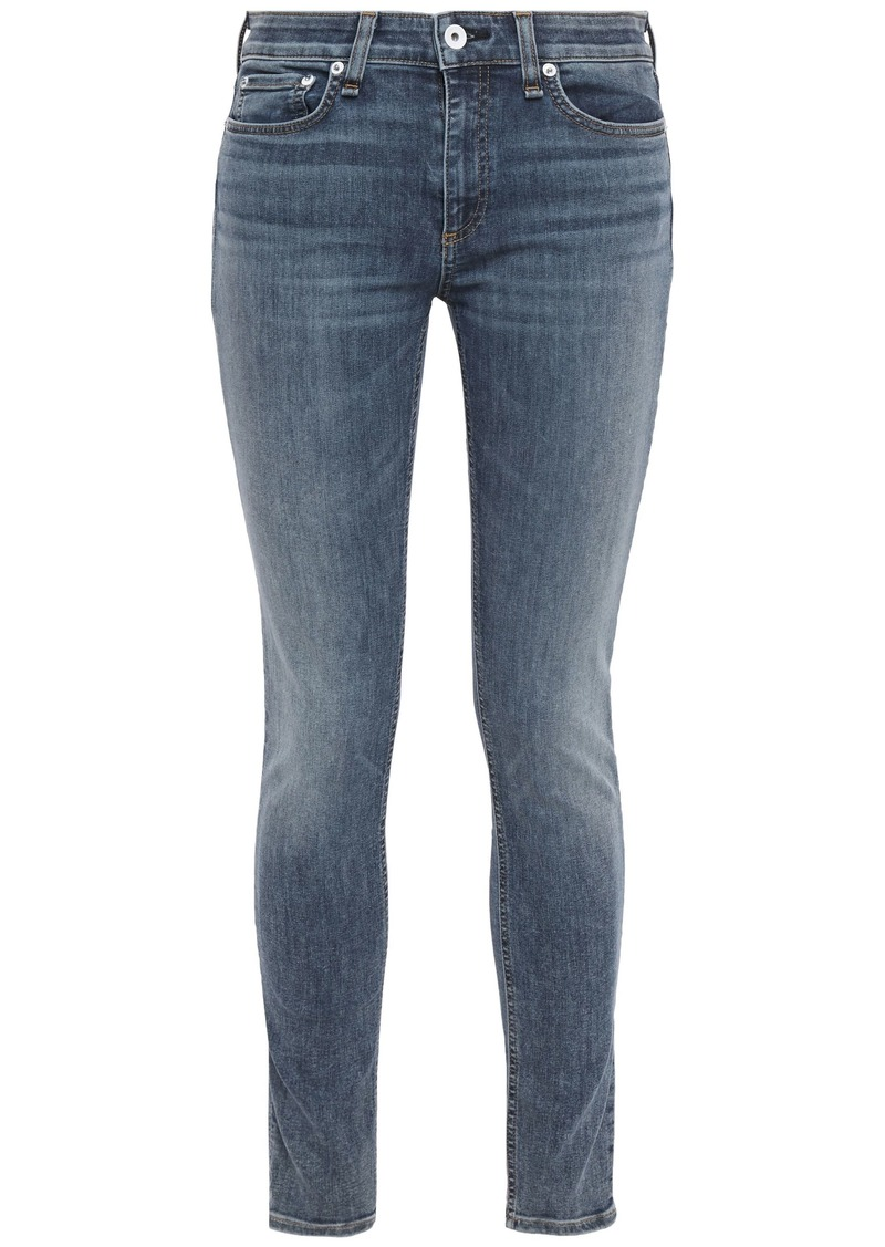 Rag & Bone Woman Cate Faded Mid-rise Skinny Jeans Light Denim