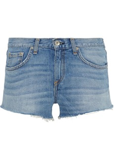 Rag & Bone Woman Cate Frayed Denim Shorts Mid Denim