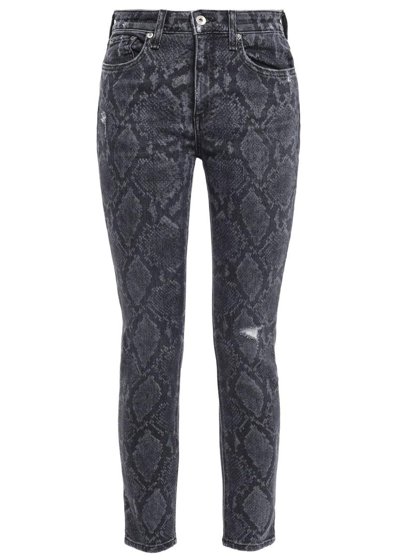 Rag & Bone Woman Cate Snake-print Mid-rise Skinny Jeans Dark Gray