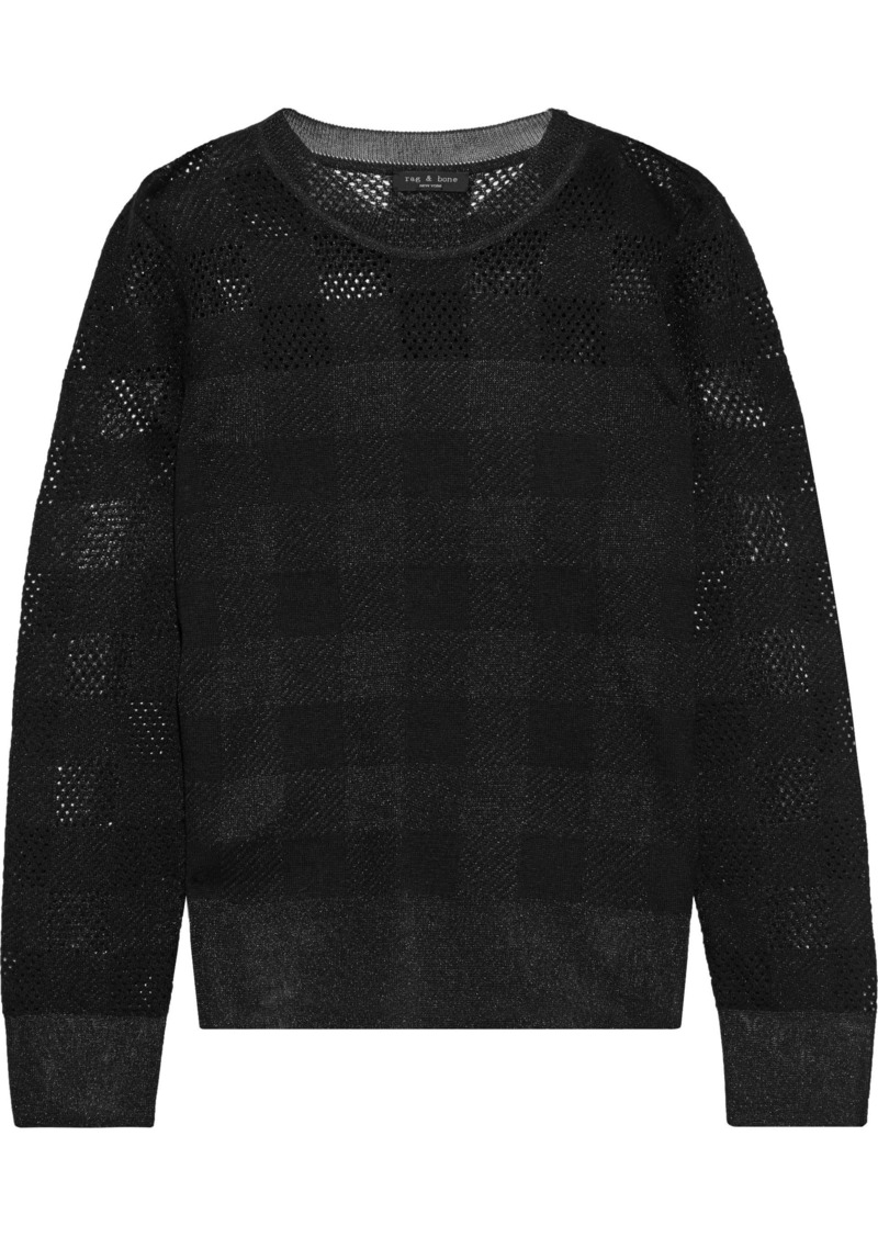 Rag & Bone Woman Charlotte Metallic Checked Pointelle-knit Sweater Black