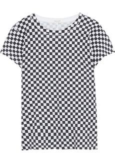 Rag & Bone Woman Checked Pima Cotton-jersey T-shirt Black