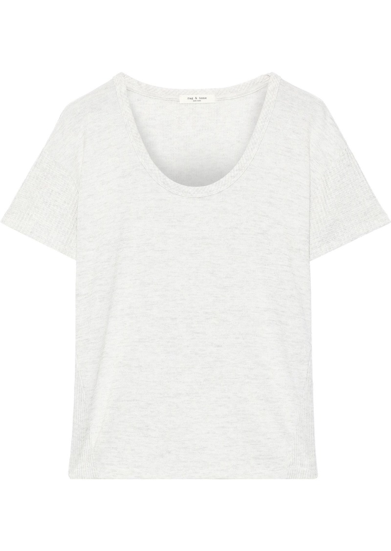 Rag & Bone Woman Clara Waffle Knit-trimmed Stretch-jersey T-shirt Off-white
