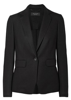 Rag & Bone Woman Club Brushed Wool-jersey Blazer Black