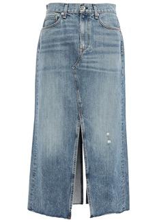 Rag & Bone Woman Clyde Distressed Faded Denim Midi Skirt Mid Denim