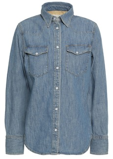 Rag & Bone Woman Corbet Faded Denim Shirt Mid Denim