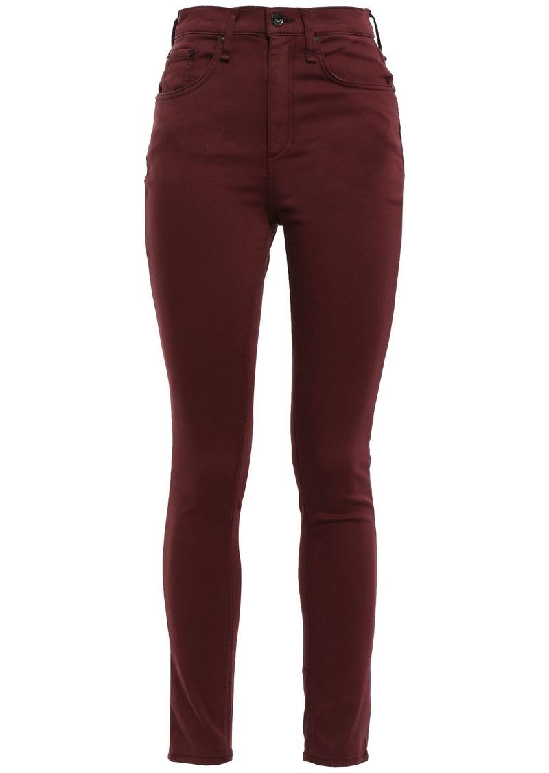 Rag & Bone Woman Cotton-blend High-rise Skinny Pants Merlot