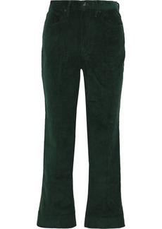 Rag & Bone Woman Cotton-corduroy Straight-leg Pants Emerald