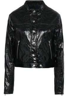 Rag & Bone Woman Toni Cropped Cracked Patent-leather Jacket Black