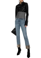 Rag & Bone Woman Cropped Coated Mid-rise Slim-leg Jeans Mid Denim