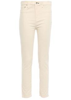 Rag & Bone Woman Cropped Cotton-blend Velvet Skinny Pants Cream