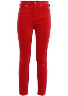 Rag & Bone Woman Cropped Cotton-blend Velvet Skinny Pants Tomato Red