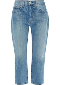 Rag & Bone Woman Cropped Distressed Boyfriend Jeans Mid Denim