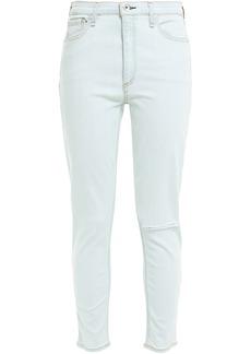 Rag & Bone Woman Cropped Distressed High-rise Skinny Jeans Light Denim