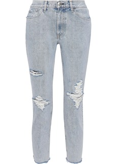 Rag & Bone Woman Cropped Distressed High-rise Slim-leg Jeans Light Denim