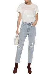 Rag & Bone Woman Cropped Distressed High-rise Slim-leg Jeans Light Denim
