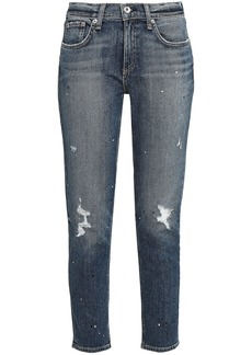 Rag & Bone Woman Cropped Distressed Mid-rise Skinny Jeans Mid Denim