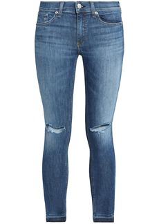 Rag & Bone Woman Cropped Distressed Mid-rise Skinny Jeans Mid Denim
