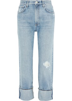 Rag & Bone Woman Cropped Distressed Straight-leg Jeans Light Denim